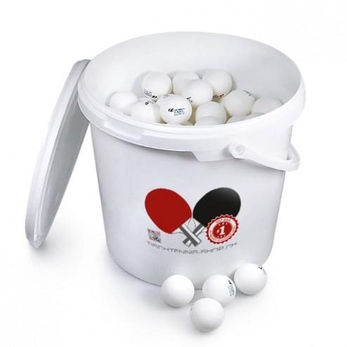 144 balles de tennis de table (1 étoile ABS) avec seau / couvercle en plastique