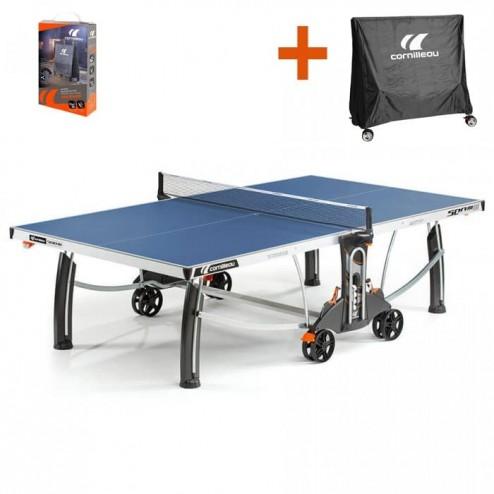Cornilleau Tischtennistisch Crossover 500M Outdoor blau mit gratis Abdeckhaube