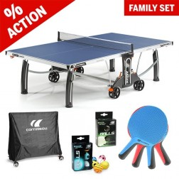 Kit familial de tennis de table « All in one » bleu
