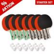 Starter Kit de raquettes de tennis de table (12 raquettes et 18 balles)