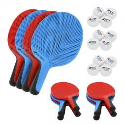 Jeu de battes de tennis de table extérieur écoles (12 battes et 12 balles)