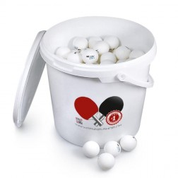 144 balles de tennis de table Pro ABS avec seau / couvercle en plastique